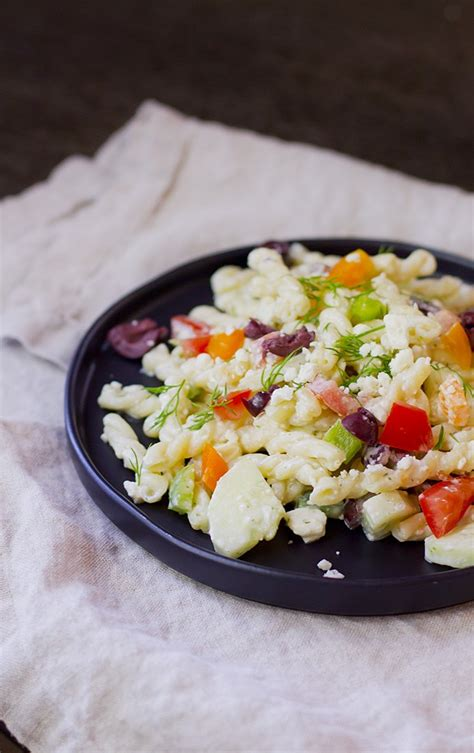 www garlicrecipes ca greek garlic dill dressing pasta creamy greek pasta salad