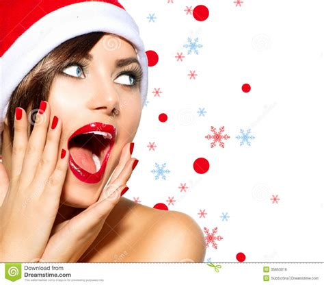 christmas woman stock photo image of nail model