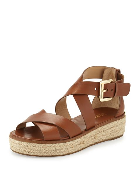 michael kors sandal michael michael kors darby leather crisscross sandal in