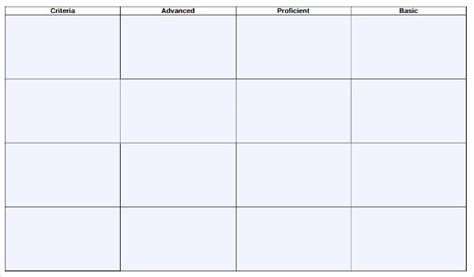 blank rubric template 6 free printable pdf word excel