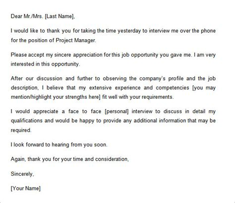 thank you letter after job interview 10 free sample example