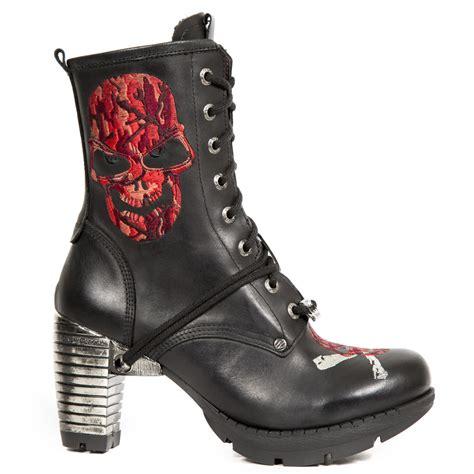 skull boots black leather skull boots