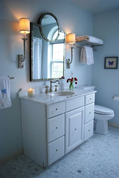 Ballard Design Art blue paint color transitional bathroom benjamin moore