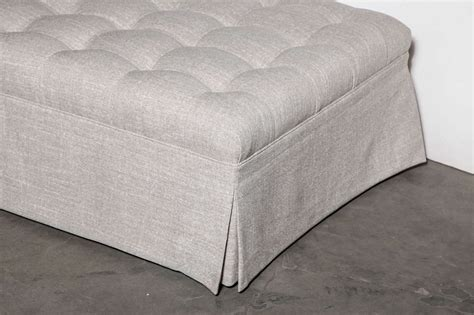 custom tufted ottoman large custom tufted ottoman in new nate berkus linen for