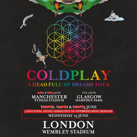 coldplay tickets fourth wembley stadium show announced coldplay