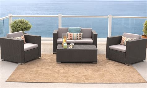 Grey Sofa Set Deals Wicker Outdoor Sofa Set 4pc Groupon Goods