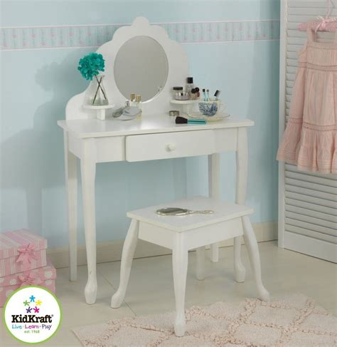 Kidkraft Vanity Table Kidkraft Medium Vanity Table Stool Set Makeup Mirror Drawer Shelves Ebay