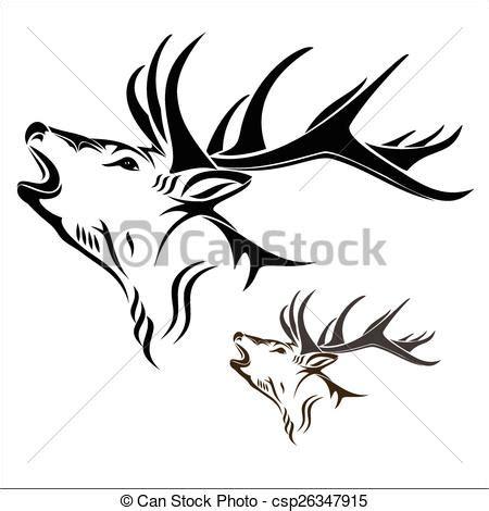 kliparty wektorowe głowa jeleń wektor ilustracja