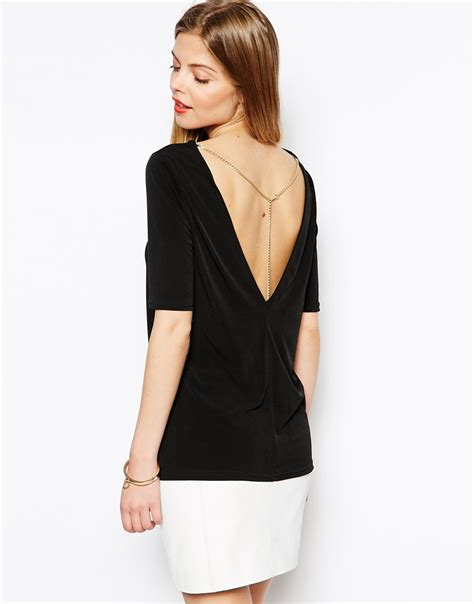 asos tunic top with v back chain in black lyst
