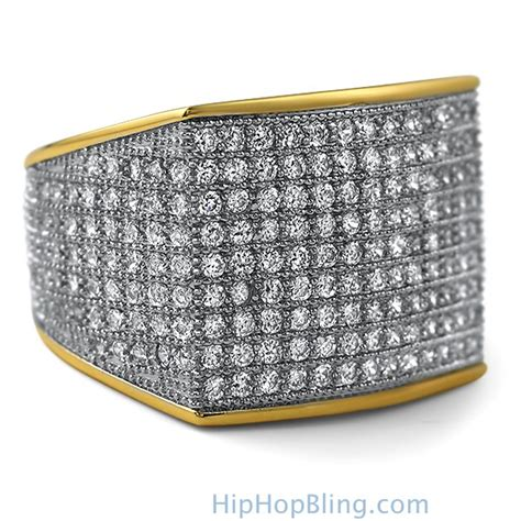 thick block gold cz bling bling ring gold cz iced out