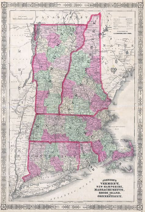 map of maine new hshire vermont massachusetts rhode island and connecticut world johnson s vermont new hshire massachusetts rhode island and connecticut geographicus