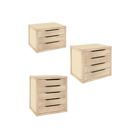 bloc 3 tiroirs en pin natura 3 espace decormat