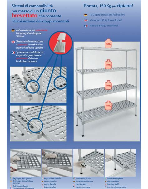 scaffale magazzino scaffale per cella frigorifera o magazzino cm 90x50x180h