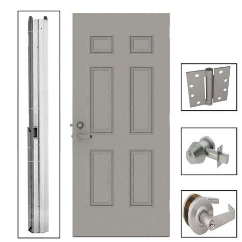 Commercial Exterior Door Hardware L I F Industries 36 In X 84 In 6 Panel Steel Gray Security Commercial Door With Hardware