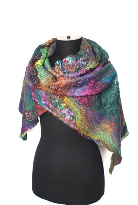scarf nuno felted scarf dyed textured wool wrap