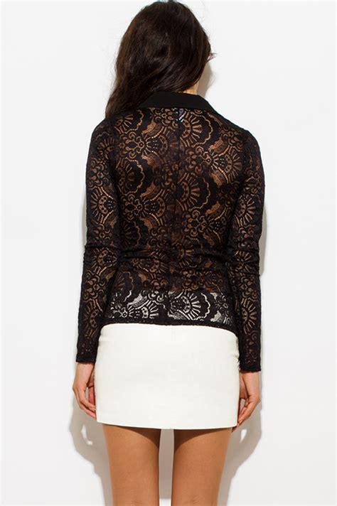 Also Black Lace Blazer Diskon Murah shop black sheer lace breasted golden button blazer jacket top