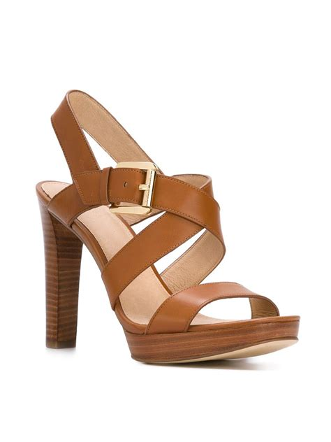 brown sandals heels michael michael kors strappy sandals in brown lyst