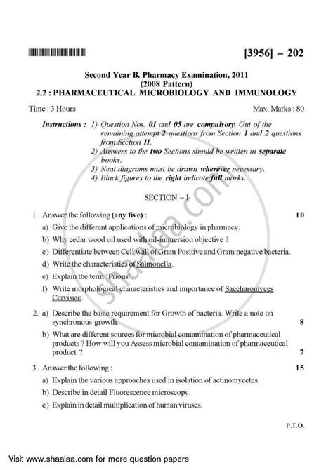 microbiology tutorial questions question paper pharmaceutical microbiology and