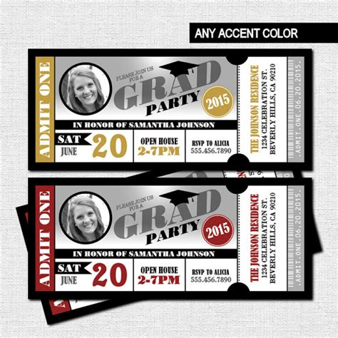 free printable graduation tickets graduation party ticket invitations class of 2016 grad