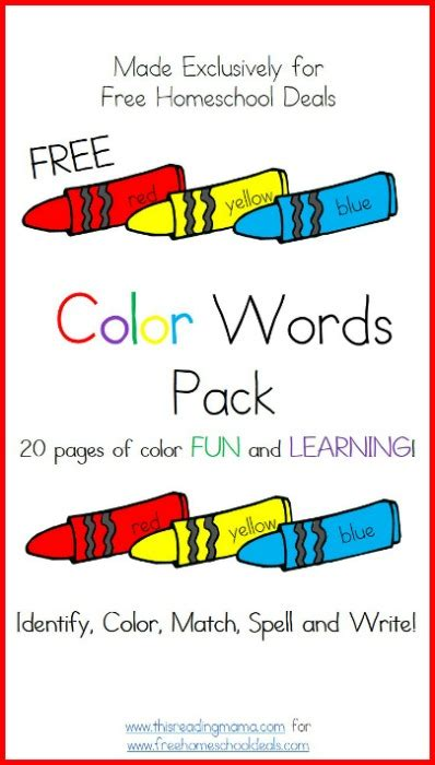 color words free color words printable worksheets pack 20