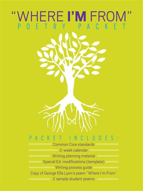 quot where i m from quot poem packet