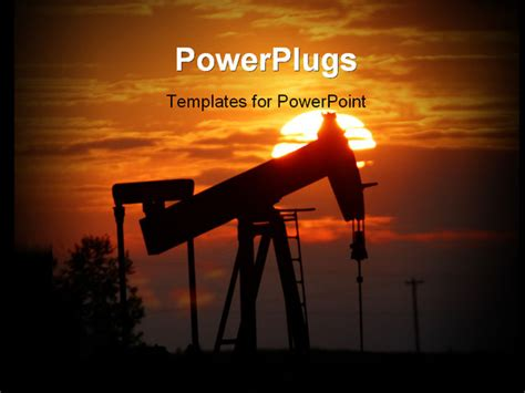 powerpoint templates free oil an oil pump jack is silhouetted by setting sun powerpoint
