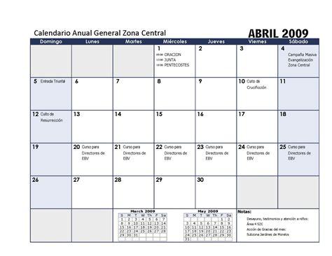 Calendario Mensual Calendario Mensual Zc Zona Central