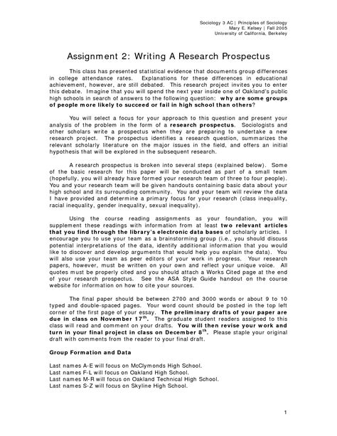 sle prospectus for research paper