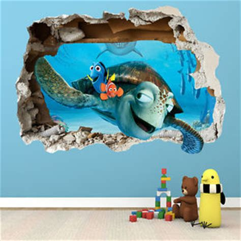 finding nemo wall stickers finding nemo wall sticker 3d smashed bedroom boys