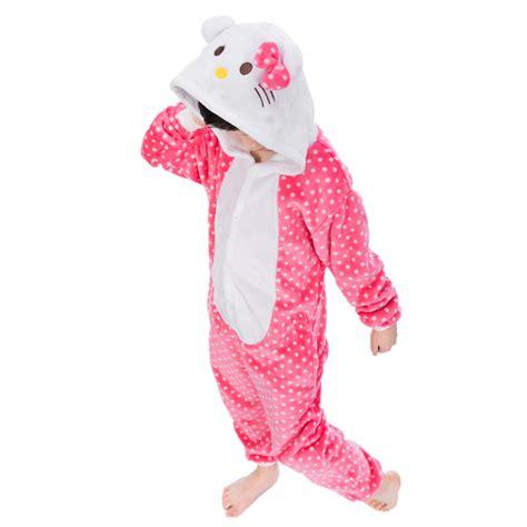 Pajamas Hello Pink animal white dots pink hello onesies for children onesie pajamas jumpsuit hoodies