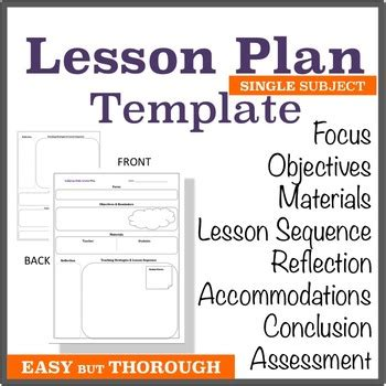 lesson plan template single subject graphic organizer