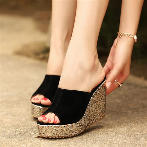 Sendal Wedges Stileto High Heels Wanita Bahan Suede Best Seller aliexpress buy fashion sequins high heel slippers summer shoes suede platform