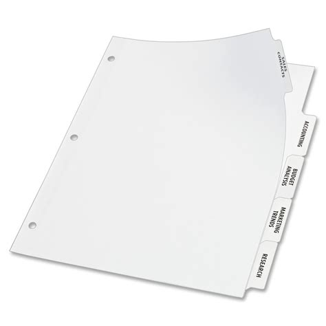 template for avery clear label dividers 5 tab avery big tab index maker clear label divider ld products