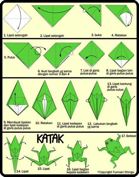 Katak Origami - membuat origami katak bisa loncat untuk anak