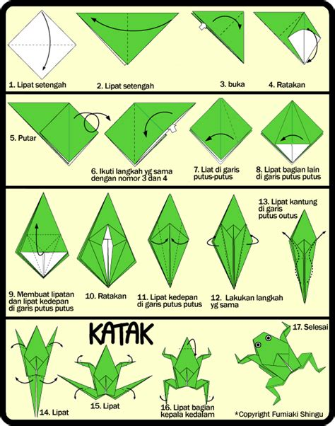 Membuat Origami Sederhana Untuk Anak Paud | membuat origami katak bisa loncat untuk anak