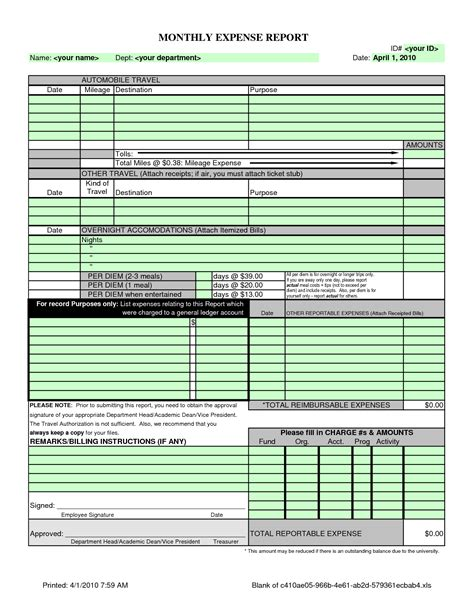 monthly expense report and reimbursement form sle