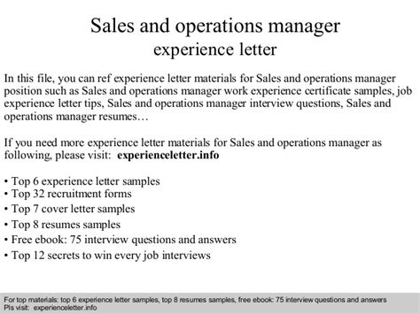 Operations Accountant Cover Letter by Sales And Operations Manager Experience Letter