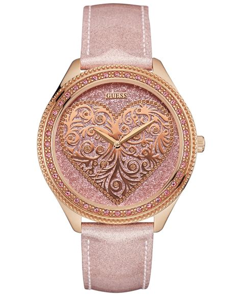 Guess Gs0277 Pink Rosegold guess s leather 44mm u0697l3 in pink gold save 25 lyst