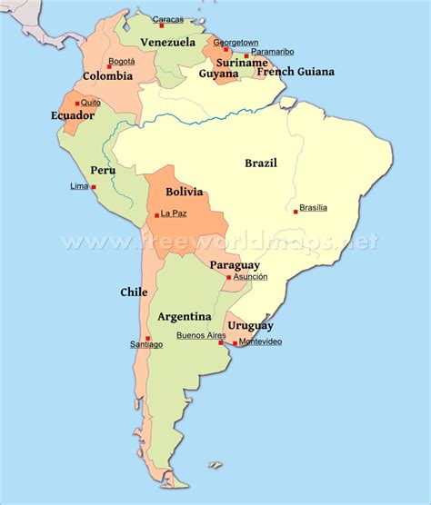south america map and capitals map of south america countries and capitals