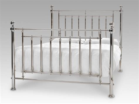 King Bed Metal Frame Serene Solomon King Size Nickel Metal Bed Frame