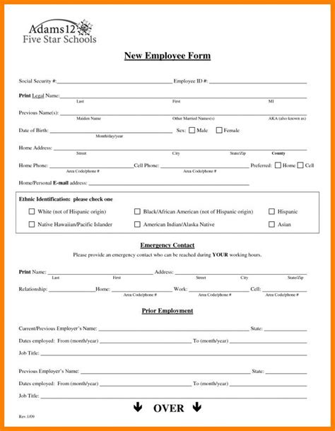 new hire application form template new hire form template beneficialholdings info