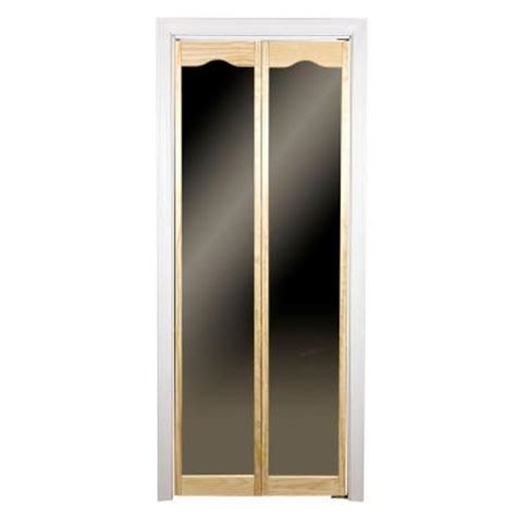 Pinecroft Traditional Mirror Wood Universal Reversible Bifold Mirrored Closet Doors Home Depot