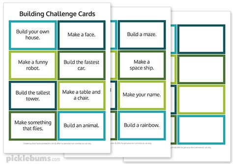 card challenges free printable building challenge cards picklebums