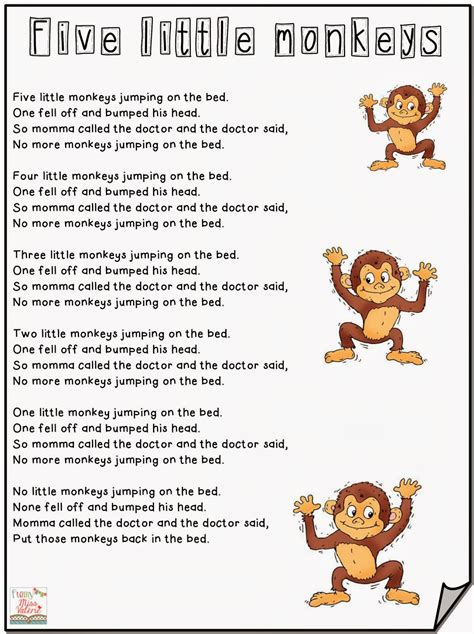 5 monkeys jumping on the bed lyrics funny miss val 233 rie five little monkeys