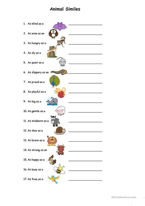 printable animal personality test animal similes worksheet free esl printable worksheets