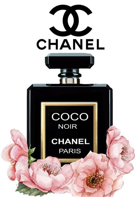 chanel noir floral gloss print perfume poster unframed