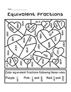 valentine math coloring page valentine s day equivalent fractions activity activities