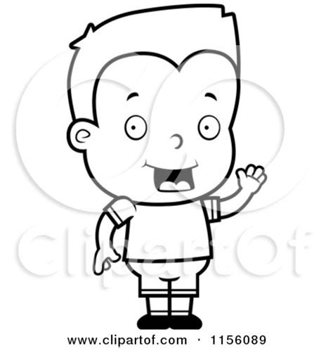 boy waving coloring page cartoon clipart of a black and white friendly boy waving