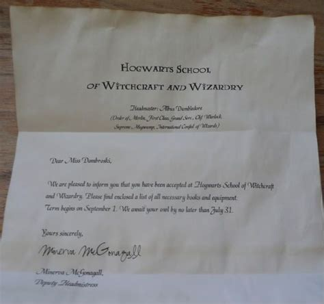 Valencia College Acceptance Letter Hogwarts Acceptance Letter Template Send On 11th Birthday Theme Harry Potter