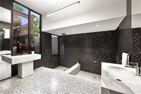 black and white tile bathroom decorating ideas bathroom decor in black white theme with mosaic tile and black walls 4991 latest